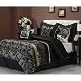 7pc Black Grey Gold Floral Motif Pattern Comforter King Set, Unisex, Stylish HighClass Damask Flowers Stripe Design, Luxury Moder Bedrooms, Vibrant Bold Colors, French Country