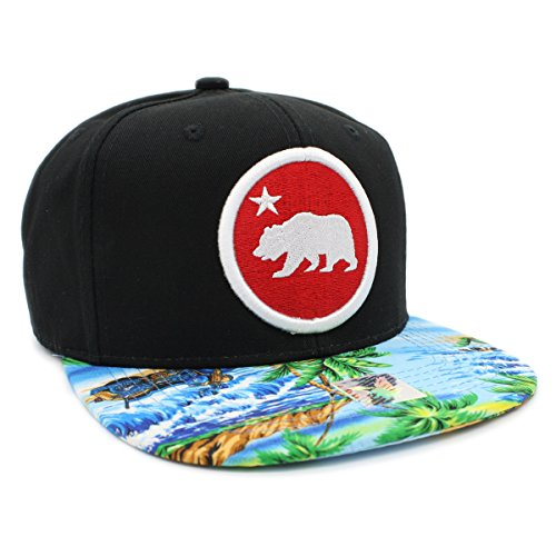 Embroidered Cali Bear In Round Tropical Hawaiian Print Snapback Cap (Black/Blue - Snapback Tropical
