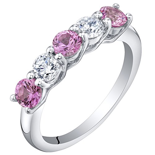 Sterling Silver Created Pink Sapphire Five-Stone Trellis Ring Band Size 7