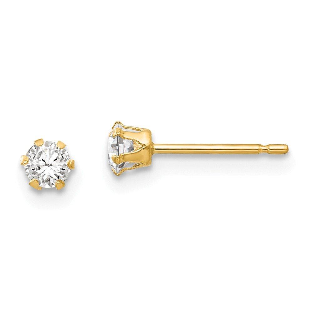 14K Yellow Gold Madi K 3mm CZ Stud Post Earrings