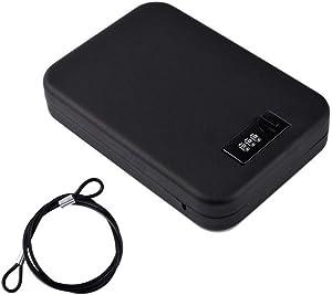 NUZAMAS Portable Safe Steel Combination Cable Lockbox Safe for Travel, Car or Home Use Lock Box Storage