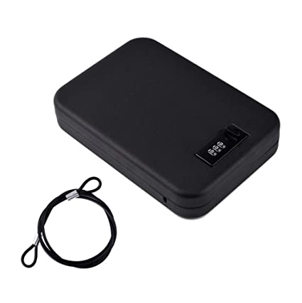 Nuzamas - Caja de seguridad portátil de acero con cerradura de combinación para viajes, coche o uso doméstico: Amazon.es: Oficina y papelería