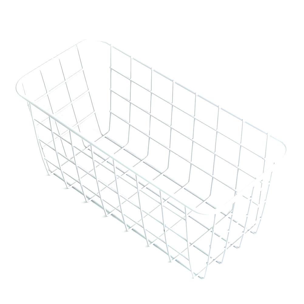 Vintage Wall Mount Storage Basket Metal Wire Wall Hanging Basket Storage Organizer Bin Shelf for Bathroom Kitchen White 1PC
