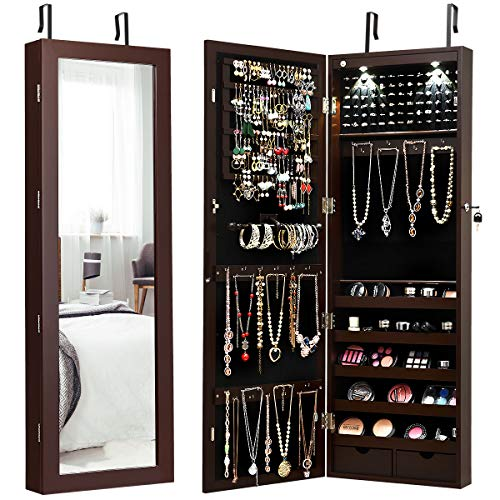 Giantex Wall/Door Mounted Jewelry Armoire Organizer with 2 LED Lights, Lockable Height -
