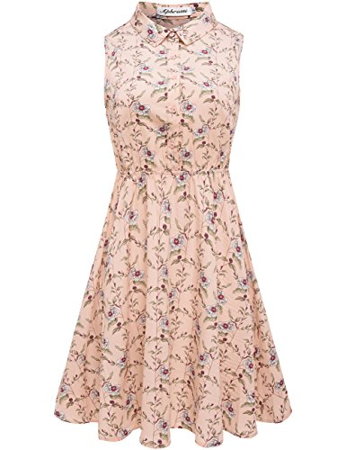 Aphratti Women's Sleeveless Half Placket Floral Print Above Knee Casual Dress Pink (Above Knee Dress)
