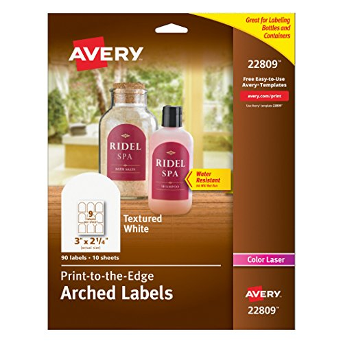 90ct Bottle (Avery Textured Print-To-The-Edge Arched Labels, Laser Printers, 3 x 2.25-Inches, White, Pack of 90)