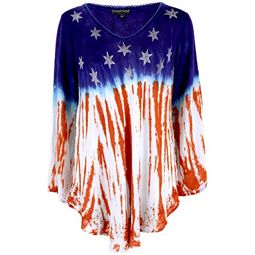 GreaterGood Stars & Stripes Long Sleeve American Flag Tunic, Red, White, Blue, Large / X-Large