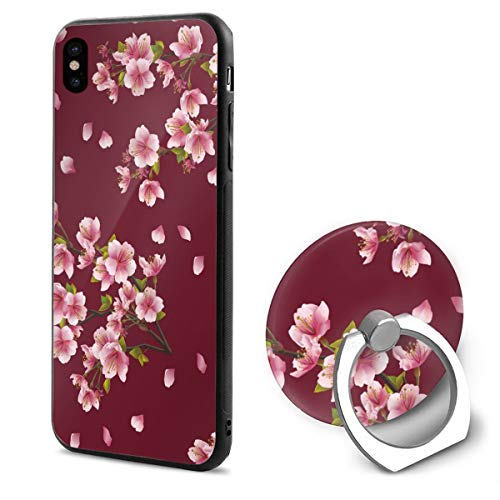 Japanese Cherry Blossoms. Elegant Flowers TPU Case Ring Bracket Compatible iPhone X Cover 5.8 Inch