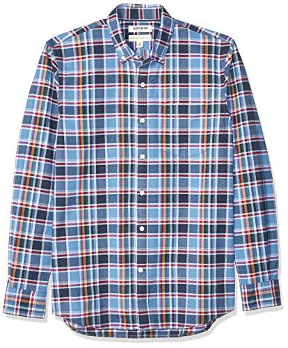 Goodthreads Men's Standard-Fit Long-Sleeve Plaid Oxford Shirt, Navy Denim Plaid, XX-Large Tall