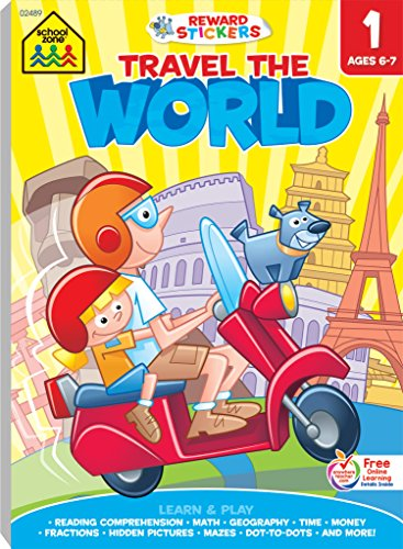 School Zone - Travel the World First Grade Adventure Workbook, Ages 6 to 7, Stickers, Beginning and Ending Letters, Printing, Spelling, Short Vowels, Long Vowels, and More (Learning Tablets)