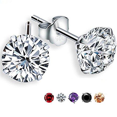Zealmer Created Crystal Stud Earrings Set Clear Rhinestone Earrings Zirconia CZ Ear Studs for Women