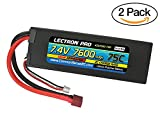 Common Sense RC (2 Pack) Lectron Pro 7.4V 7600mAh 75C Lipo Battery with Deans-Type Connector for 1 10 Scale Cars - Trucks - and Buggies