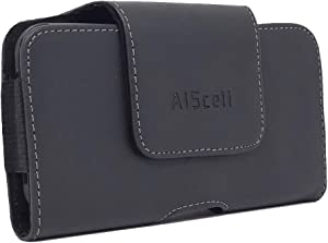 AISCELL Belt Holster for iPhone 11 Pro,XS, X,iPhone 8, 7, 6s / 6, SE (2020) Side Load Black Leather Case Magnetic Flap Swivel Clip Pouch,Fits Slim Case on or Naked Phone 5.80X2.75X0.50 Inches