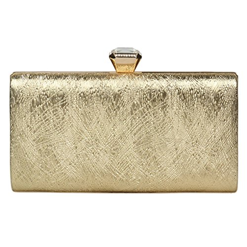 Damara Women's Box Stylish Clutch Glitter Crystals Evening Bag,Gold