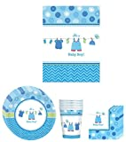 Shower with Love Boy ( It's a Baby Boy! )Blue Baby Boy Baby Shower Party Supplies Bundle Kit Including Plates, Cups, Napkins and Table cover - 8 Guests