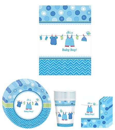 Shower with Love Boy ( It's a Baby Boy! )Blue Baby Boy Baby Shower Party Supplies Bundle Kit Including Plates, Cups, Napkins and Table cover - 8 Guests by Amscan