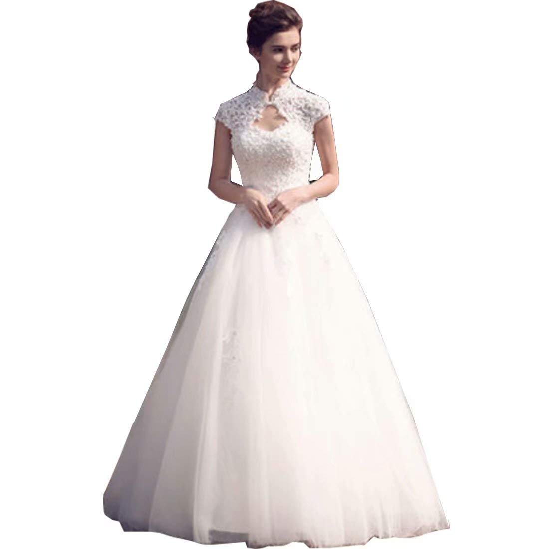 Chady Lace High Neck Beading Wedding Dresses 2019 Cap Sleeves Open Back Ball Gown At Amazon Women's Clothing Store: High Back Wedding Dress At Reisefeber.org