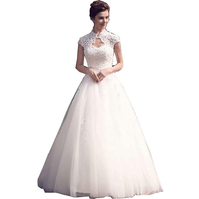Chady Lace High Neck Beading Wedding Dresses 2019 Cap