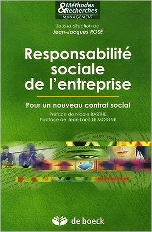 Lire en ligne Responsabilité sociale dans l'entreprise : Pour un nouveau contrat social pdf