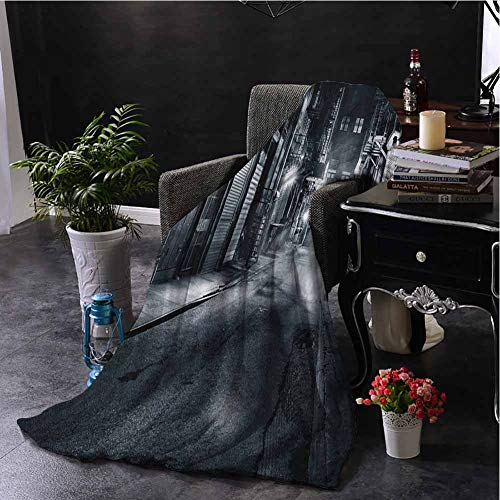 hengshu Night Plush Throw Blanket for Couch Moody Monochrome View of Cortlandt Alley Chinatown New York City Dark Urban Scenery Super Soft Fuzzy Elegant Blanket W60 x L80 Inch Black White