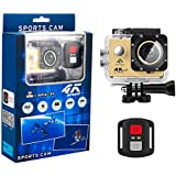 FINEC F60R Waterproof Sports Action Camera 4K 16 MP Ultra HD WIFI 170 Degree Angle Underwater Camcorder With 2.0Inch LCD Screen And Full Accessories Kits (Gold)