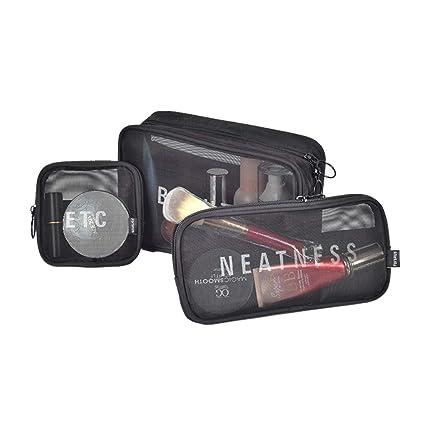 Estuche Transparente de Maquillaje Conjunto de 3 Bolsa Práctica para Guardar Utensilios Cosméticos Make-up Pounches PVC Grueso Suave (Conjunto de 3 ...