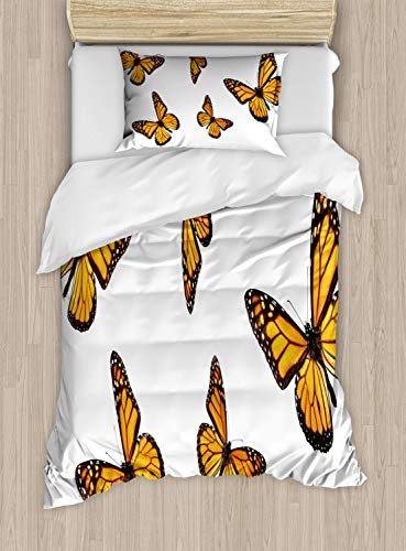 Ambesonne Butterfly Duvet Cover Set Twin Size, Monarch Moth Delicate Creature with Wings on Plain Backdrop, Decorative 2 Piece Bedding Set with 1 Pillow Sham, Earth Yellow Orange Dark Brown