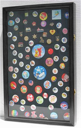 Large Pin Medal Display Case Shadow Box Display Case, with Glass Door, (Black Finish)]()