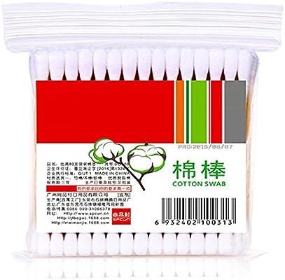 80 bastones de algodón para limpieza de bastones de algodón y algodón, aplicador de bastón de maquillaje, Q-tip Swab desechable: Amazon.es: Belleza