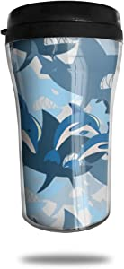 TUNQEONG Shark Wrath Bite Teeth Insulated Coffee Cups Stainless Steel Vacuum Insulation Cup with Lid Double Insulated Travel Mug Home Office