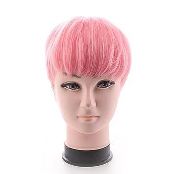 TT peluca de pelo corto de la moda de los hombres peluca rosa suave y esponjosa