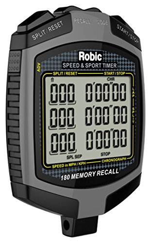 Robic 180 Dual Memory Speed Timer & Stopwatch, Slate Grey/Black
