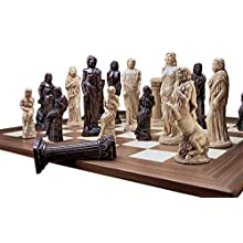 Design Toscano Gods of Greek Mythology Complete Chess Set, 6 Inch, 16 Pieces and Board, Polyresin and Wood, Two Tone Stone
