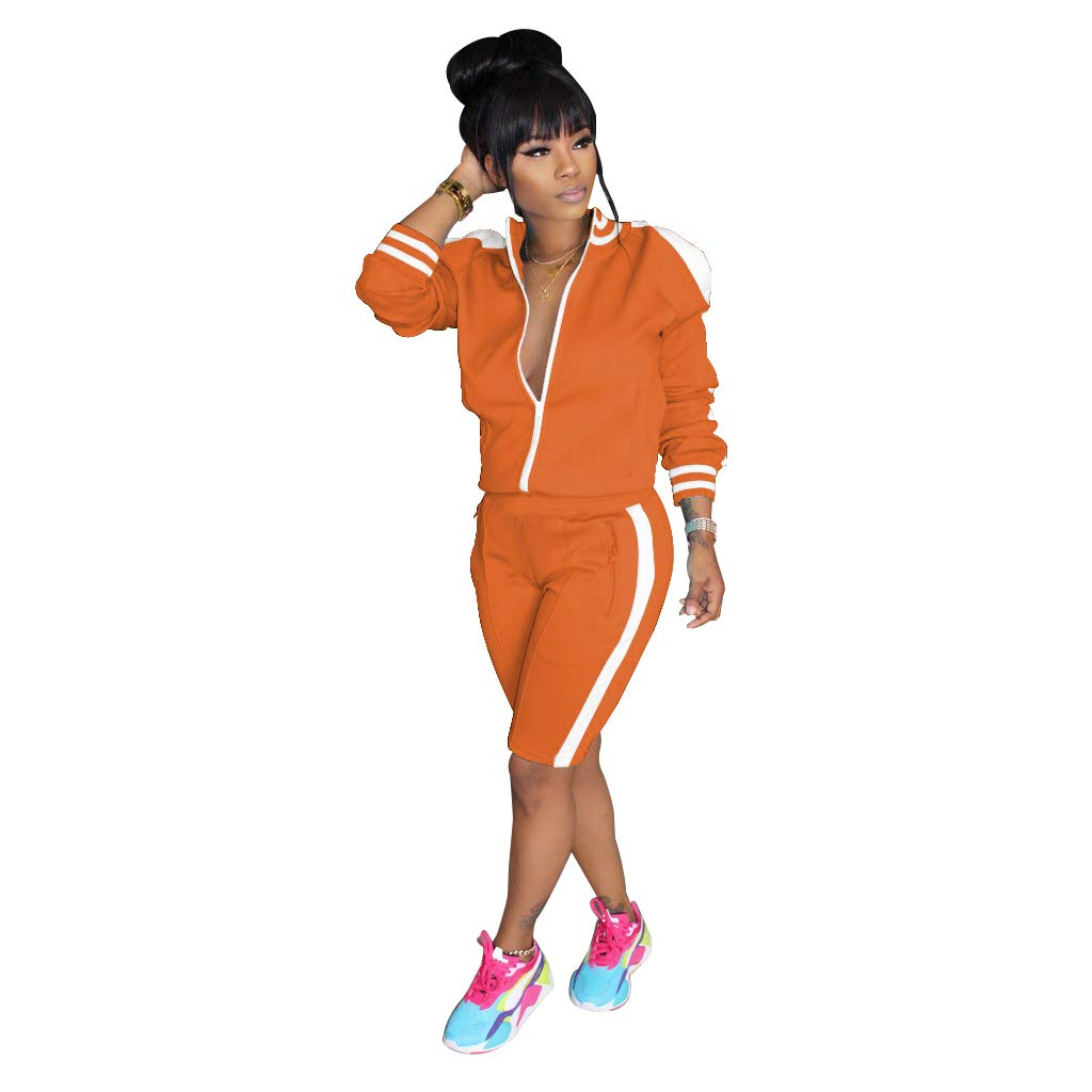 ZJFZML Womens Long Sleeve Zip Up Coat Pockets Sweatpants Sport Jogger