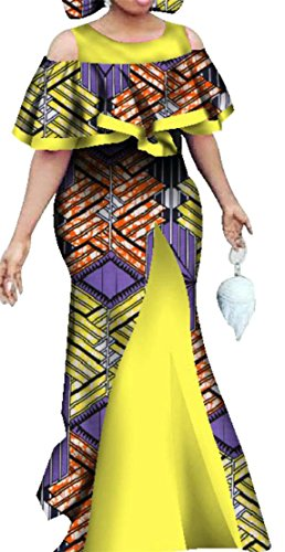 Cromoncent Shoulder Bodycon Cold Ethnic Dress Maxi Purple Style Women Africa Print Floral SwqOrS