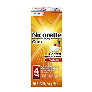 Nicorette Nicotine Gum Fruit Chill 4 milligram Stop Smoking Aid 20 count