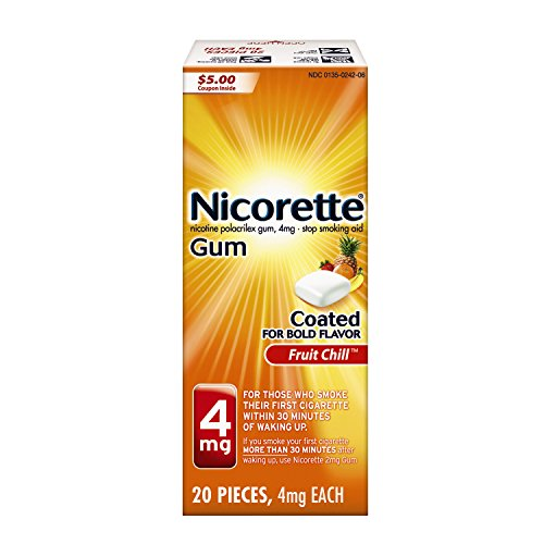 Nicorette Nicotine Gum, Stop Smoking Aid, 4 mg, Fruit Chill Flavor, 20 count - Replacement Nicotine