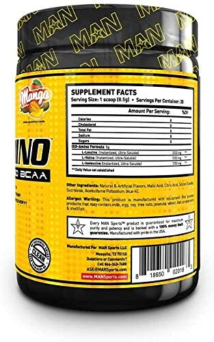 Man Sports Iso Amino Pure Isolated BCAA. Fat Burning Mango Flavored BCAA Powder for Muscle Recovery and Lean Muscle Growth 30 Servings