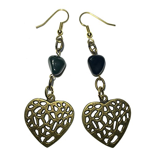 Bloodstone Earrings 25 Heart Green Stone