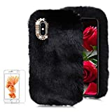 For iPhone XS Max 6.5 inch Soft Warm Plush Case [with Free Screen Protector],Funyee Artificial Fluffy Villi Wool Cute Plush Soft Silicone TPU Case for iPhone XS Max 6.5 inch with Shiny Diamond,Black