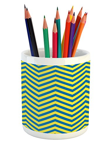 Yellow and Blue Pencil Pen Holder by Lunarable, Classical Chevron Pattern Horizontal Zigzag Lines Geometric Old Fashioned, Printed Ceramic Pencil Pen Holder for Desk Office Accessory, Blue Yellow (Horizontal Bar Pattern)