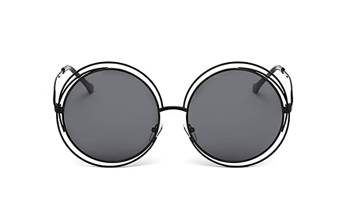 a180786d6f SojoS SJ1005 Double Circle Round Mirror Lenses Shiny Metal Women Sunglasses  With Black Frame Grey