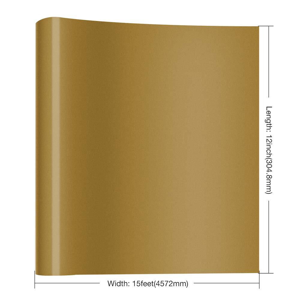 Nicapa HTV Vinyl Gold Roll 12inch x 15feet Iron on Heat Transfer Vinyl Roll Bundle for Silhouette//Cricut//Brother//Siser Easy Weed Iron-on Heat Press T Shirts Garments Stencil Vinyl