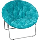 Teal Saucer Fur-Faux Over sized Chair