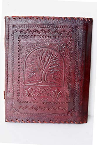 Imperial Leather Folder Embossed Celtic Tree Leather Padfolio Personal Organizer 13 X 10 Inches Brown