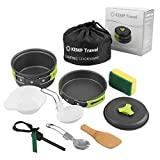 KEMP Travel Camping Cookware - 10pcs Backpacking Cooking Equipment - compact, lightweight anodized pot & pan - Nonstick Cookset - Hiking Mess Kit - Outdoor Gear - Camping Utensil Set