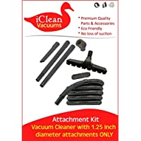 Vacuum Cleaner Attachment Kit with 12 Foot Hose, 2 Wands, Dusting Brush, Floor Brush, Crevice & Upholstery Tools To Fit 1.25 Inch Diameter Opening - By iClean Vacuums