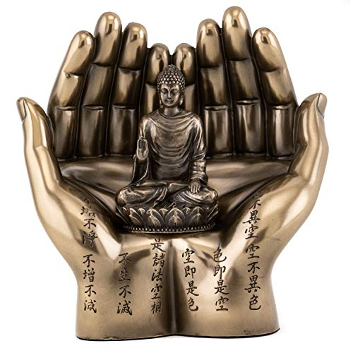 Buddha Hand Statue - Top Collection Shakyamuni on Palm Statue - The Enlightened One Sculpture in Premium Cold Cast Bronze- 5.75-Inch Collectible Supreme Buddha Figurine