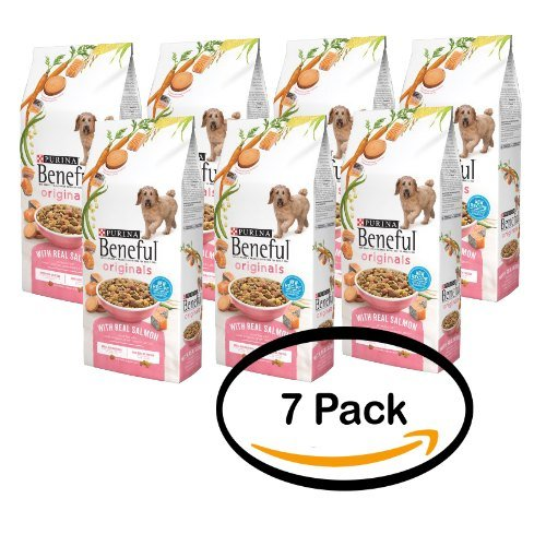Pack of 7 - Purina Beneful Originals Salmon with Sweet Potatoes, Green Beans & Carrots All Stages Dry Dog Food 3.5 Lb by Purina Beneful