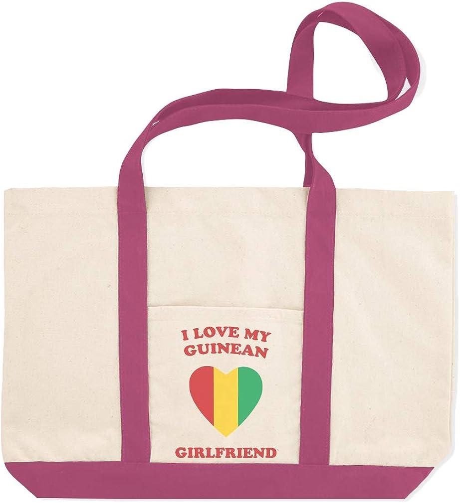 Canvas Shopping Tote Bag I Love My Guinean Girlfriend Countries Guinean Beach Bags for Women
